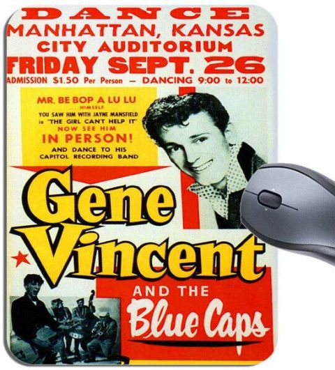 Gene Vincent And The Blue Caps Concert Poster Mouse Mat. Vintage Rock Mouse Pad